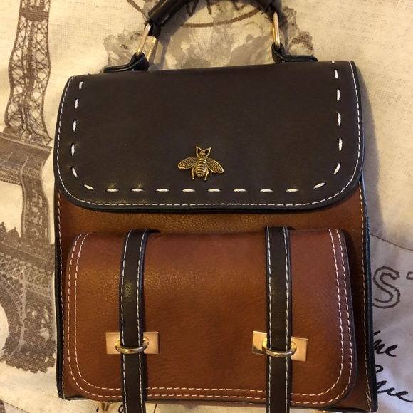 Brandy Melville Brown Faux Leather Wallet Clutch Purse Detachable Strap NWT New